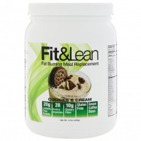 Fit & Lean, Fat Burning Meal Replacement, Cookies & Cream, 1.0 lb (450 g)
